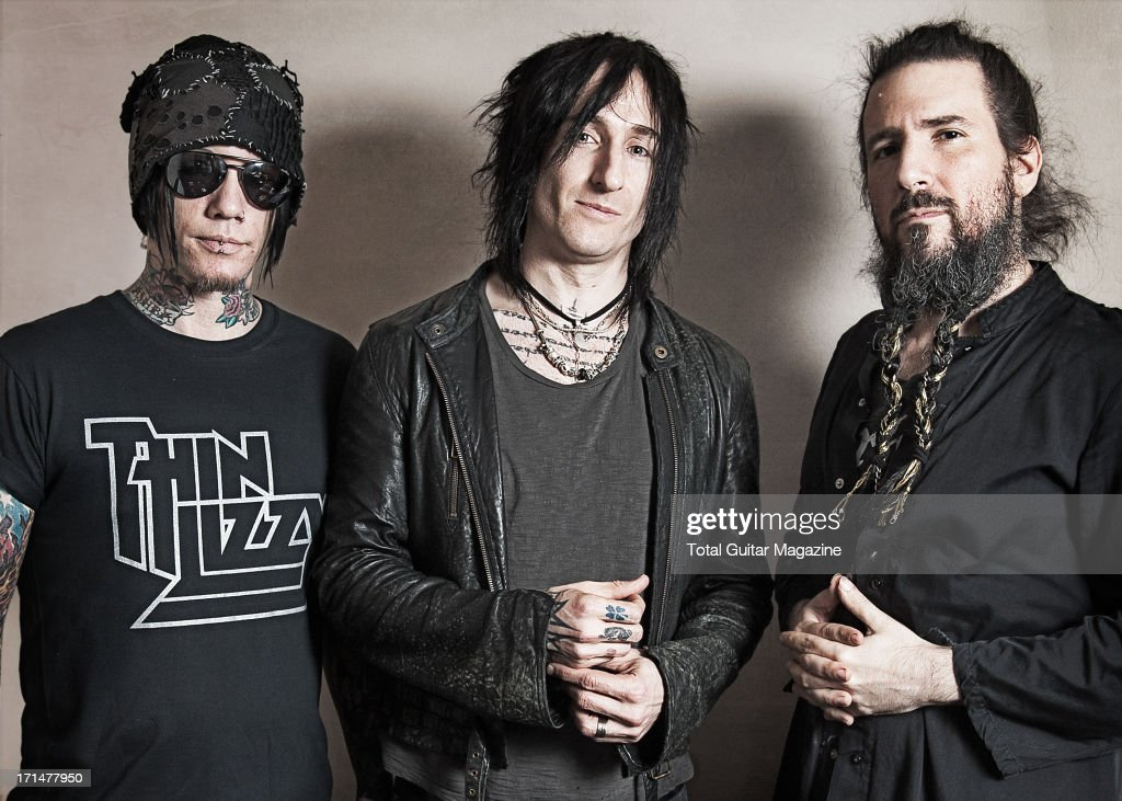 DJ Ashba, Richard Fortus and Ron Bumblefoot Thal of American hard rock band Guns N Roses, photographed during a portrait shoot for Total Guitar Magazine, May 26, 2012. (Photo by Kevin Nixon/Total Guitar Magazine via Getty Images) DJ Ashba;Richard Fortus;Ron Bumblefoot Thal