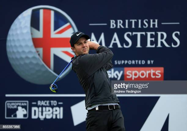 Ashely Chesters of England hits his tee shot on the 14th hole during day two of the British Masters at Close House Golf Club on September 29 2017 in...