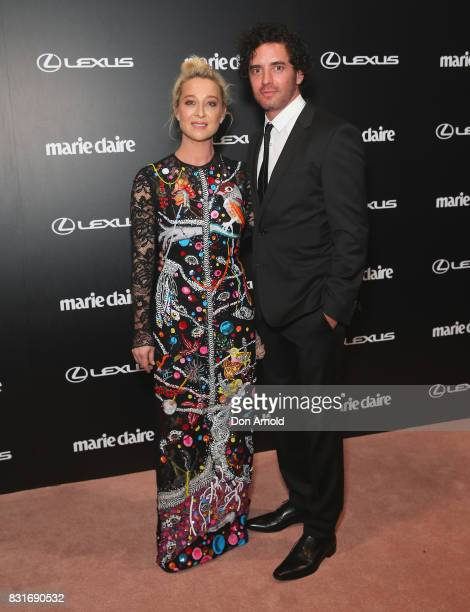 Asher Keddie and Vincent Fantauzzo arrive ahead of the 2017 Prix de Marie Claire Awards on August 15 2017 in Sydney Australia