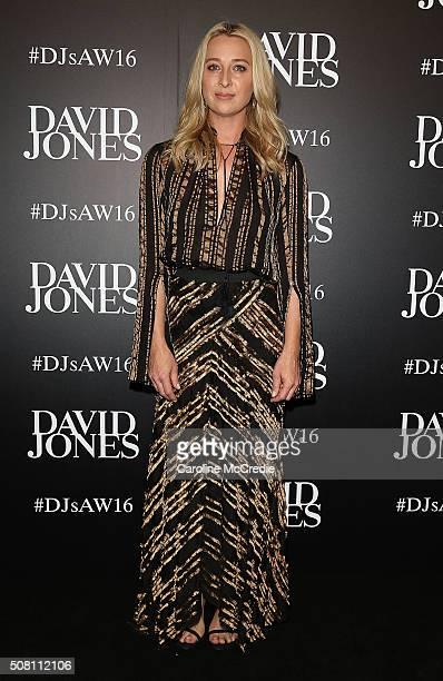 Asher Keddie arrives ahead of the David Jones Autumn/Winter 2016 Fashion Launch at David Jones Elizabeth Street Store on February 3 2016 in Sydney...