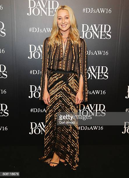Asher Keddie arrives ahead of the David Jones Autumn/Winter 2016 Fashion Launch at David Jones Elizabeth Street Store on February 3 2016 in Sydney...
