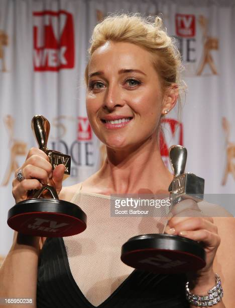 Asher Keddie celebrates in the awards room after winning the Gold Logie for Most Popular Personality on Australian Television at the 2013 Logie...