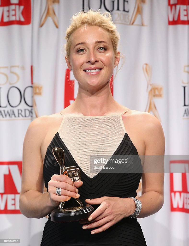 Asher Keddie celebrates in the awards room after winning the Gold Logie for Most Popular Personality on Australian Television at the 2013 Logie Awards at the Crown Palladium on April 7, 2013 in Melbourne, Australia.