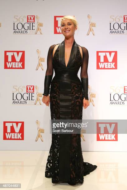Asher Keddie poses in the awards room after winning a Logie for Most Popular Actress at the 2014 Logie Awards at Crown Palladium on April 27 2014 in...