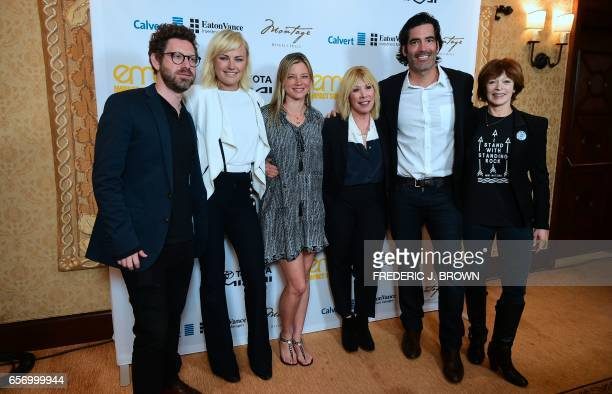 Asher Levin Malin Akerman Amy Smart Debbie Levin Carter Oosterhouse and Frances Fisher pose at the Environmental Media Association Impact Summit in...
