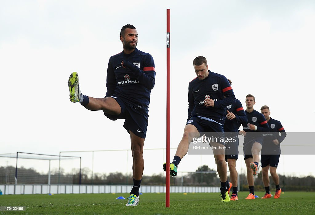 Ashey Cole in action during the England training session at the Tottenham Hotspur Training Centre on March 3, 2014 in London, England.