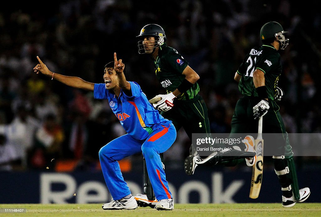 Ashish Nehra of India appeals successfully for the wicket of Umar Gul of Pakistan during the 2011 ICC World Cup second Semi-Final between India and Pakistan at Punjab Cricket Association (PCA) Stadium on March 30, 2011 in Mohali, India.