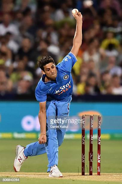 Ashish Nehra of India bowls during game one of the Twenty20 International match between Australia and India at Adelaide Oval on January 26 2016 in...
