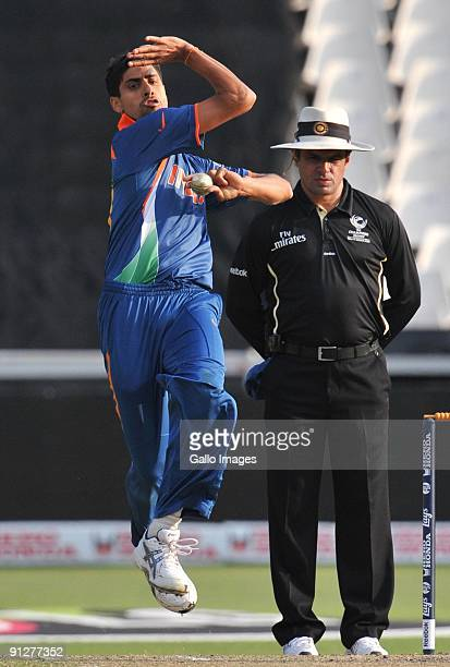 Ashish Nehra of India bowls during The ICC Champions Trophy Group A Match between India and West Indies at Wanderers Stadium on September 30 2009 in...