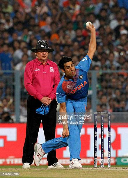 Ashish Nehra of India bowls during the ICC World Twenty20 India 2016 match between Pakistan and India at Eden Gardens on March 19 2016 in Kolkata...