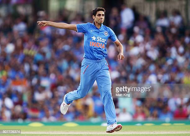 Ashish Nehra of India celebrates taking the wicket of Usman Khawaja of Australia during the International Twenty20 match between Australia and India...