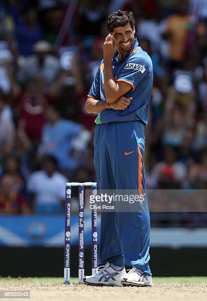 Ashish Nehra of India looks on during the ICC World Twenty20 Super Eight match between West Indies and India at the Kensington Oval on May 9 2010 in...