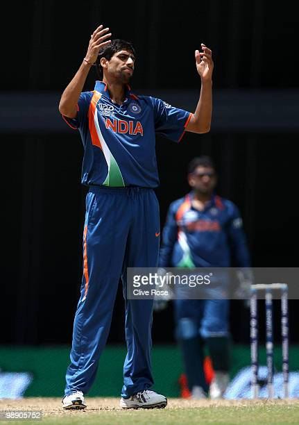 Ashish Nehra of India reacts after a missed catch during the ICC World Twenty20 Super Eight match between Australia and India at the Kensington Oval...