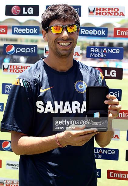 Ashish Nehra of India with the man of the match award after the ICC World Twenty20 Group A match between India and Afghanistan played at the...