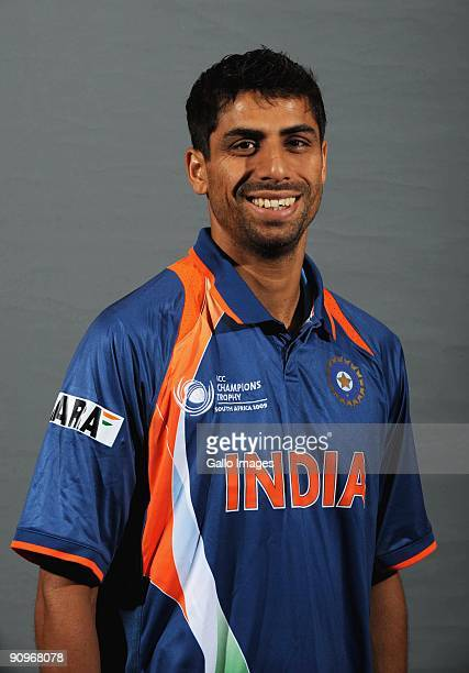 Ashish Nehra poses during the ICC Champions photocall session of the Indian cricket team at Sandton Sun on September 19 2009 in Sandton South Africa