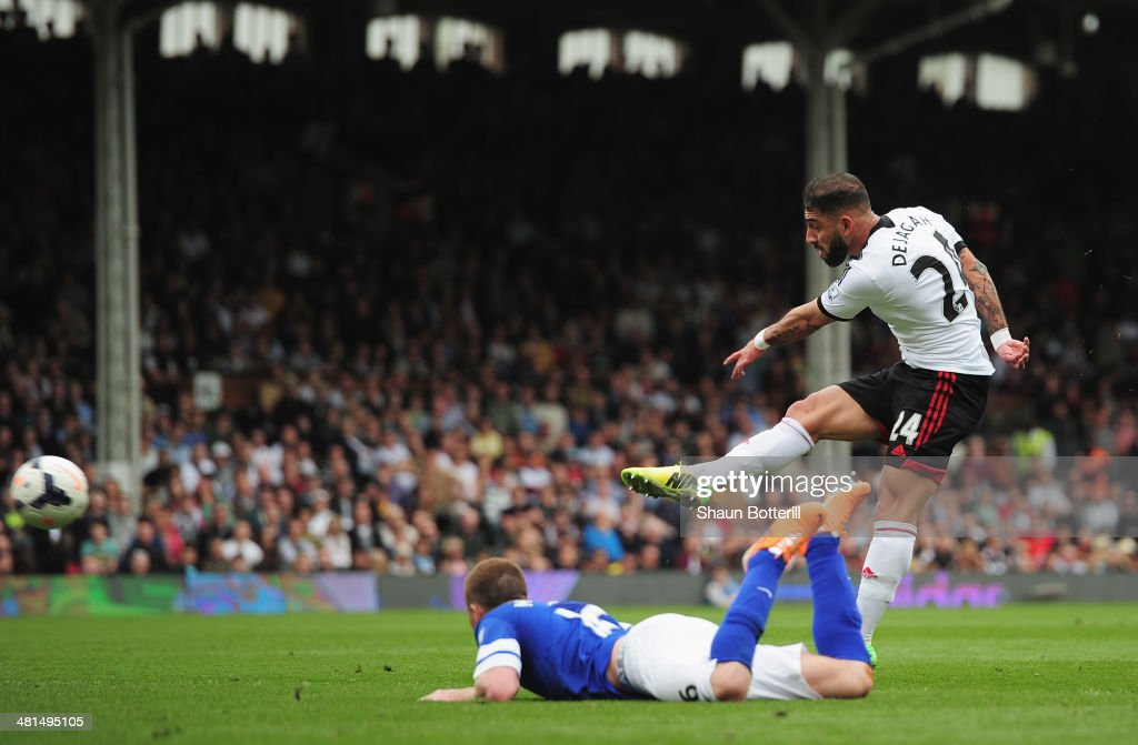 <a gi-track='captionPersonalityLinkClicked' href=/galleries/search?phrase=Ashkan+Dejagah&family=editorial&specificpeople=4024305 ng-click='$event.stopPropagation()'>Ashkan Dejagah</a> of Fulham scores his team's first goal during the Barclays Premier League match between Fulham and Everton at Craven Cottage on March 30, 2014 in London, England.