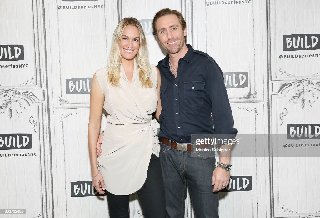 Ashlan Gorse Cousteau (L) and Philippe Cousteau Jr. discuss 'Caribbean Pirate Treasure' at Build Studio on August 17, 2017 in New York City.