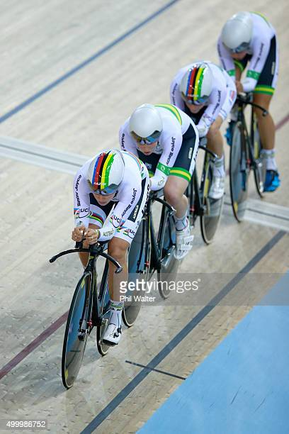 Ashlee Ankudinoff Georgia Baker Amy Cure and Isabella King of Australia compete in the Womens Team Pursuit during the 2015 UCI Track Cycling World...