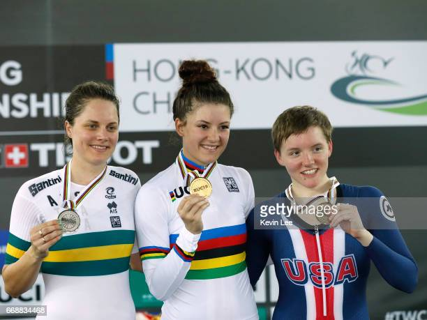 Ashlee Ankudinoff of Australia Chloe Dygert of United States and Kelly Catlin of United States pose with their medals after winning Women's...