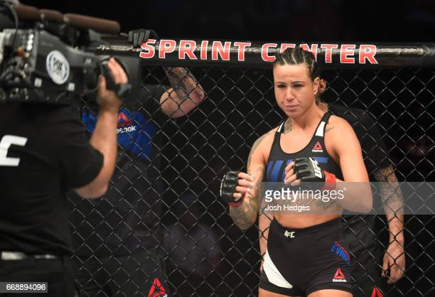 Ashlee EvansSmith enters the Octagon before facing Ketlen Vieira of Brazil in their women's bantamweight fight during the UFC Fight Night event at...
