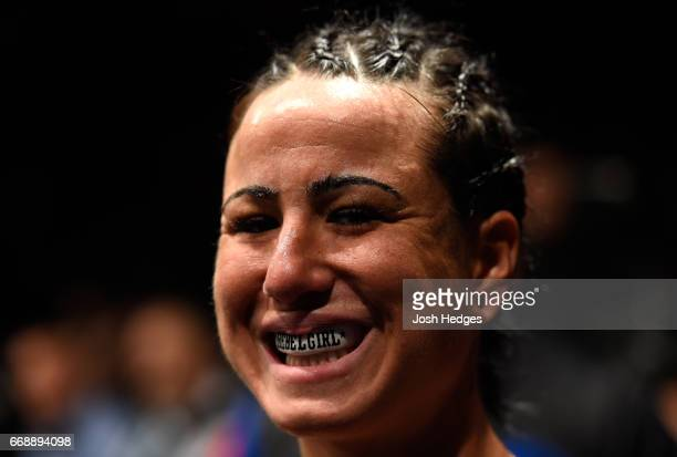 Ashlee EvansSmith prepares to enter the Octagon before facing Ketlen Vieira of Brazil in their women's bantamweight fight during the UFC Fight Night...