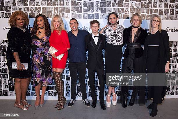 Ashlee Marie Preston Lina Bradford Lauren Foster Sean Rad Troye Sivan Jacob Tobia Bradley Foster and Andrea James attend Tinder x GLAAD Celebrate...