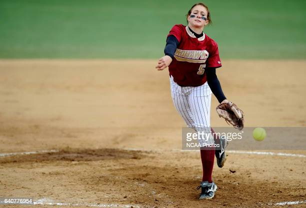 Ashlee Simon of Coe College pitches to a Messiah College batter during the Division III Women's Softball Championship held at the Montclair State...