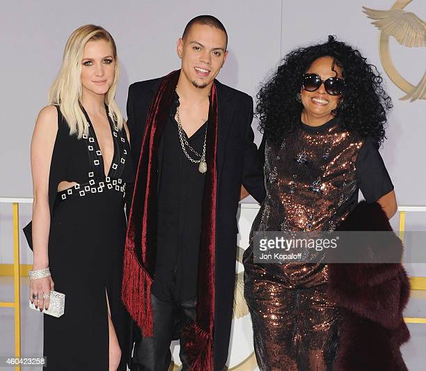 Ashlee Simpson actor Evan Ross and Diana Ross arrive at the Los Angele Premiere 'The Hunger Games Mockingjay Part 1' at Nokia Theatre LA Live on...
