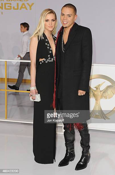 Ashlee Simpson and actor Evan Ross arrive at the Los Angele Premiere 'The Hunger Games Mockingjay Part 1' at Nokia Theatre LA Live on November 17...