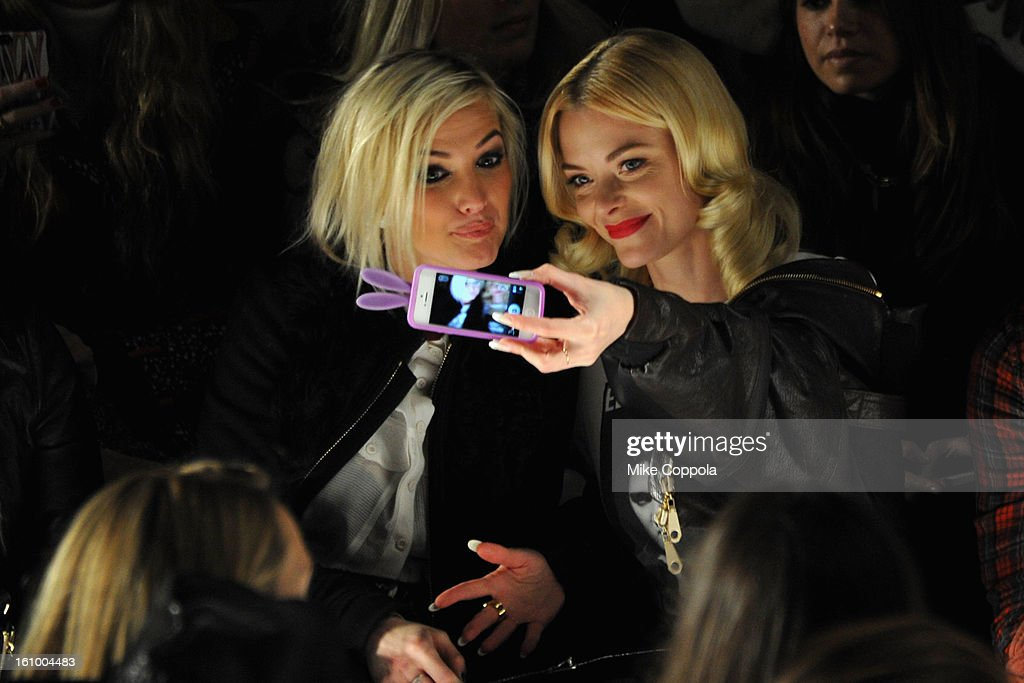 <a gi-track='captionPersonalityLinkClicked' href=/galleries/search?phrase=Ashlee+Simpson&family=editorial&specificpeople=201809 ng-click='$event.stopPropagation()'>Ashlee Simpson</a> and actress <a gi-track='captionPersonalityLinkClicked' href=/galleries/search?phrase=Jaime+King+-+Actress&family=editorial&specificpeople=206809 ng-click='$event.stopPropagation()'>Jaime King</a> attend the Rebecca Minkoff Fall 2013 fashion show during Mercedes-Benz Fashion at The Theatre at Lincoln Center on February 8, 2013 in New York City.