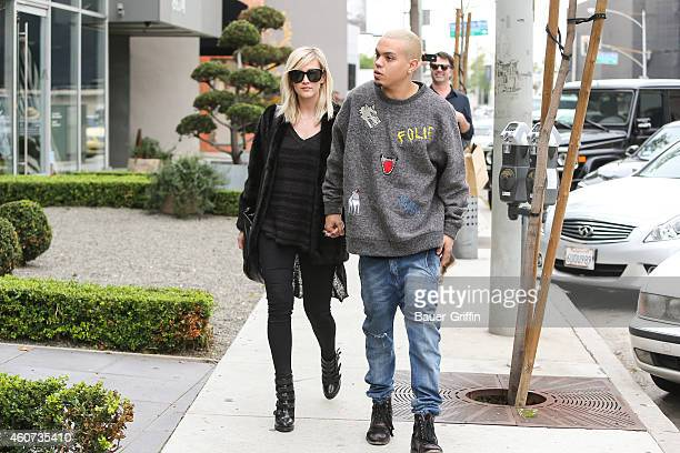 Ashlee Simpson and Evan Ross are seen on December 20 2014 in Los Angeles California