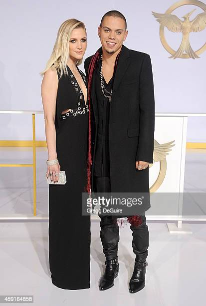 Ashlee Simpson and Evan Ross arrive at the Los Angeles premiere of 'The Hunger Games Mockingjay Part 1' at Nokia Theatre LA Live on November 17 2014...