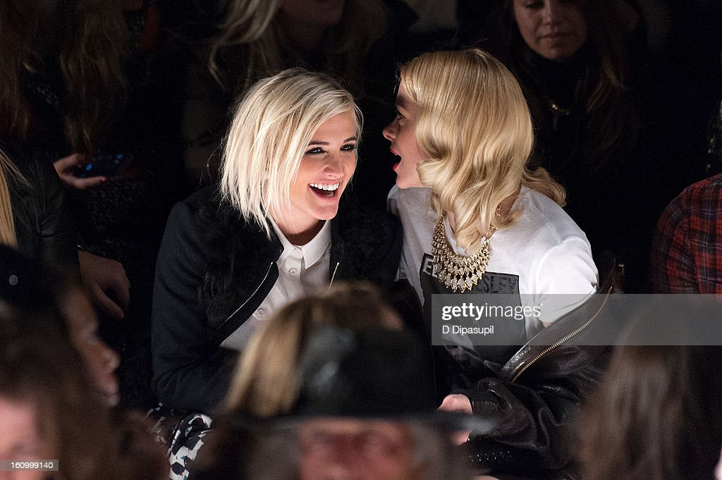 <a gi-track='captionPersonalityLinkClicked' href=/galleries/search?phrase=Ashlee+Simpson&family=editorial&specificpeople=201809 ng-click='$event.stopPropagation()'>Ashlee Simpson</a> (L) and <a gi-track='captionPersonalityLinkClicked' href=/galleries/search?phrase=Jaime+King+-+Actress&family=editorial&specificpeople=206809 ng-click='$event.stopPropagation()'>Jaime King</a> attend the Rebecca Minkoff Fall 2013 Mercedes-Benz Fashion Show at The Theater at Lincoln Center on February 8, 2013 in New York City.