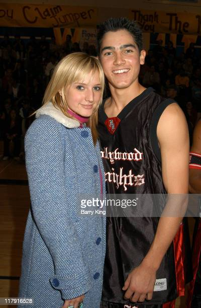 Ashlee Simpson and Tyler Hoechlin during Hollywood Knights Charity Basketball Game at Walnut High School in Walnut California United States