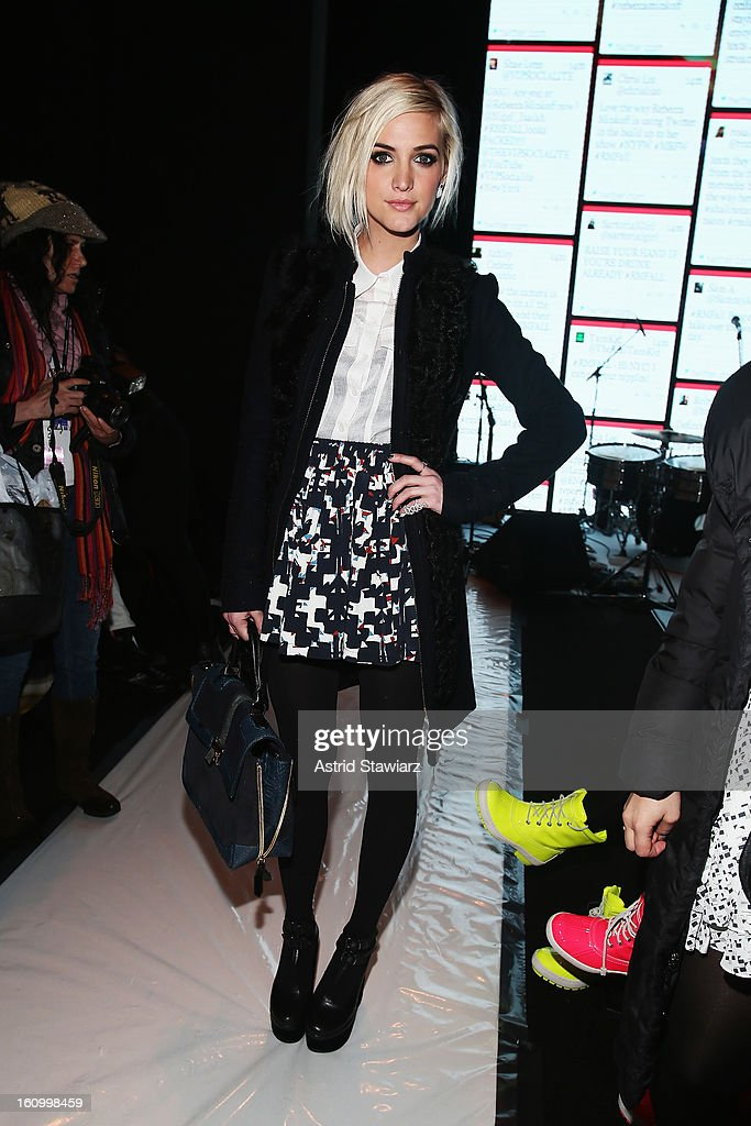 Ashlee Simpson attends the Rebecca Minkoff Fall 2013 fashion show with TRESemme during Mercedes-Benz Fashion Week at The Theatre at Lincoln Center on February 8, 2013 in New York City.