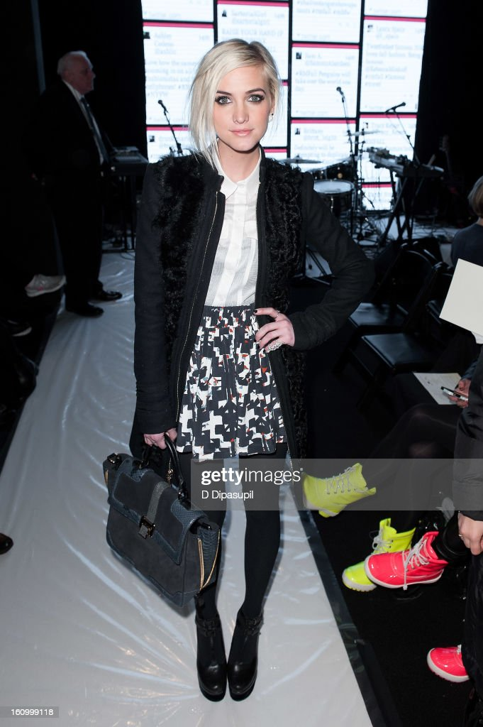 Ashlee Simpson attends the Rebecca Minkoff Fall 2013 Mercedes-Benz Fashion Show at The Theater at Lincoln Center on February 8, 2013 in New York City.