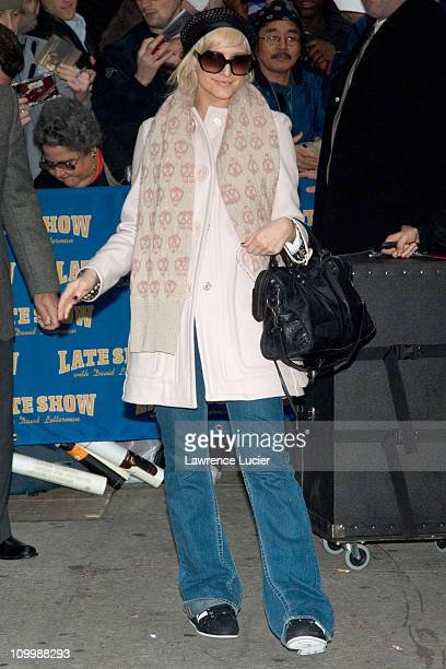 Ashlee Simpson during Ashlee Simpson and George Clooney Appear Outside The Late Show with David Letterman November 21 2005 at Ed Sullivan Theater in...