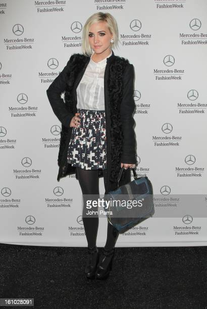 Ashlee Simpson is seen during Fall 2013 MercedesBenz Fashion Week at Lincoln Center for the Performing Arts on February 8 2013 in New York City