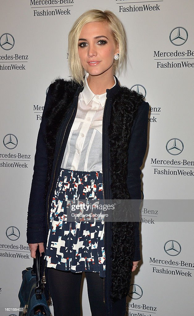 Ashlee Simpson is seen during Fall 2013 Mercedes-Benz Fashion Week at Lincoln Center for the Performing Arts on February 8, 2013 in New York City.