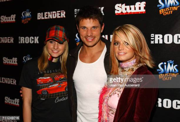 Ashlee Simpson Nick Lachey and Jessica Simpson during STUFF Magazine and Blender Host Kid Rock's After Party For The 2003 American Music Awards Red...