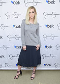 Ashlee Simpson Ross wearing Jessica Simpson Collection attends Jessica Simpson and Ashlee Simpson Ross come home for the holidays in support of the...