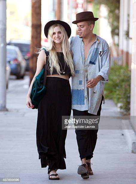 Ashlee Simpson runs errands with fiance Evan Ross while wearing Tevas July 28 2014 in Los Angeles California