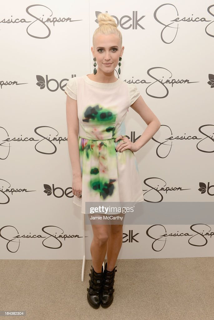 Ashlee Simpson, wearing a Jessica Simpson dress, visits Belk Southpark on March 23, 2013 in Charlotte, North Carolina.