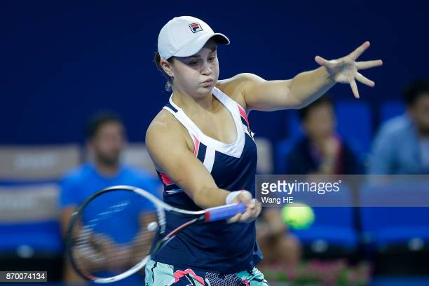 Ashlei Barty of Australia return in her Semi final match against Coco Vandeweghe of USA during the WTA Elite Trophy Zhuhai 2017 at Hengqin Tennis...