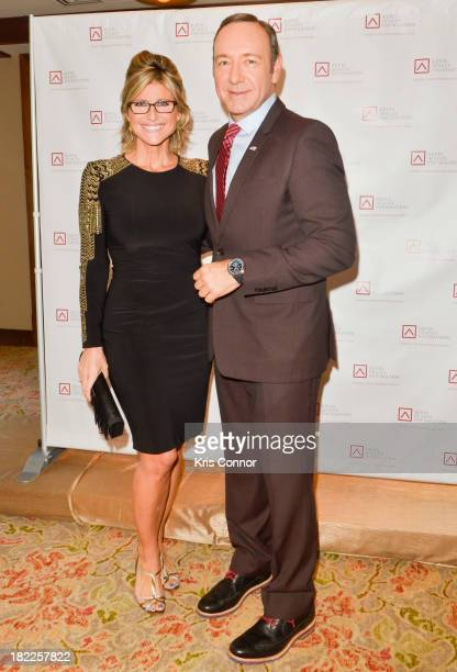 Ashleigh Banfield and Kevin Spacey pose on the red carpet during the Kevin Spacey Foundation Washington Gala Dinner at Mandarin Oriental Hotel on...