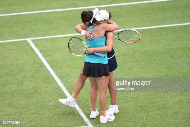Ashleigh Barty and Casey Dellacqua of Australia celebrates after they win the final doubles match against Chan HaoChing of Taiwan and Zhang Shuai of...