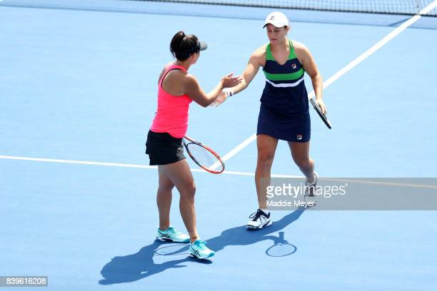 Ashleigh Barty and Casey Dellacqua of Australia compete against Gabriela Dabrowski of Canada and Yifan Xu of China during Day 9 of the Connecticut...