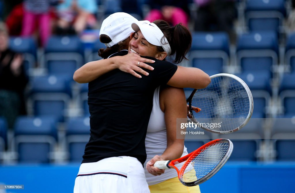 <a gi-track='captionPersonalityLinkClicked' href=/galleries/search?phrase=Ashleigh+Barty&family=editorial&specificpeople=7369424 ng-click='$event.stopPropagation()'>Ashleigh Barty</a> (L) and <a gi-track='captionPersonalityLinkClicked' href=/galleries/search?phrase=Casey+Dellacqua&family=editorial&specificpeople=575797 ng-click='$event.stopPropagation()'>Casey Dellacqua</a> (R) of Australia pose celebrate after defeating Cara Black and Marina Erakovic in the doubles final during day eight of the AEGON Classic tennis tournament at Edgbaston Priory Club on June 16, 2013 in Birmingham, England.