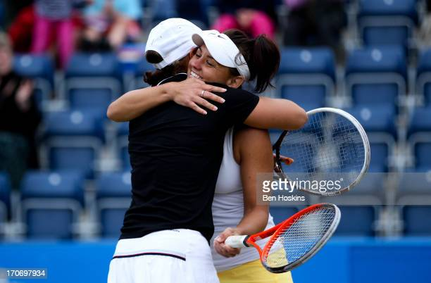 Ashleigh Barty and Casey Dellacqua of Australia pose celebrate after defeating Cara Black and Marina Erakovic in the doubles final during day eight...