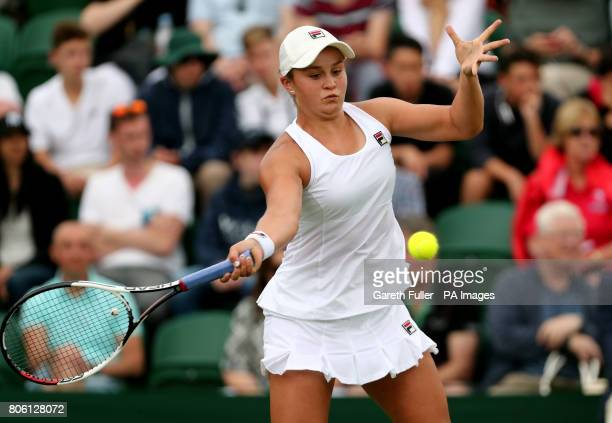 Ashleigh Barty in action against Elina Svitolina on day one of the Wimbledon Championships at The All England Lawn Tennis and Croquet Club Wimbledon